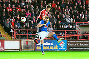 David Wheeler (11) of Exeter City battles for possession with Danny Grainger (3) of Carlisle United during the EFL Sky Bet League 2 play off second leg match between Exeter City and Carlisle United at St James' Park, Exeter, England on 18 May 2017. Photo by Graham Hunt.