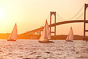 Argument and Vindex sailing in the Herreshoff S Class division of the Newport Yacht Club Tuesday night racing series.
