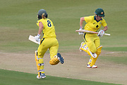 Ellyse Perry & Beth Mooney batting during the Royal London Women's One Day International match between England Women Cricket and Australia at the Fischer County Ground, Grace Road, Leicester, United Kingdom on 4 July 2019.