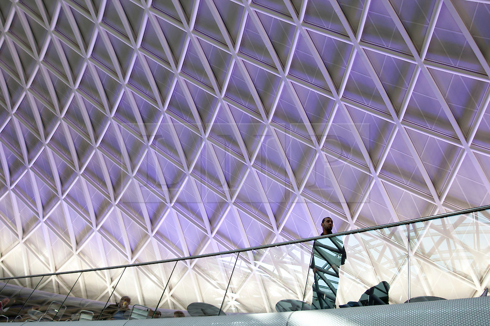 [[London, UK 19/03/2012]]A man stands underneath the roof of the new concourse at King's Cross train station in London. [[Photo: Tolga Akmen/LNP]]