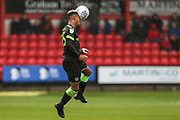 Forest Green Rovers Junior Mondal(25) heads the ball during the EFL Sky Bet League 2 match between Crewe Alexandra and Forest Green Rovers at Alexandra Stadium, Crewe, England on 27 April 2019.