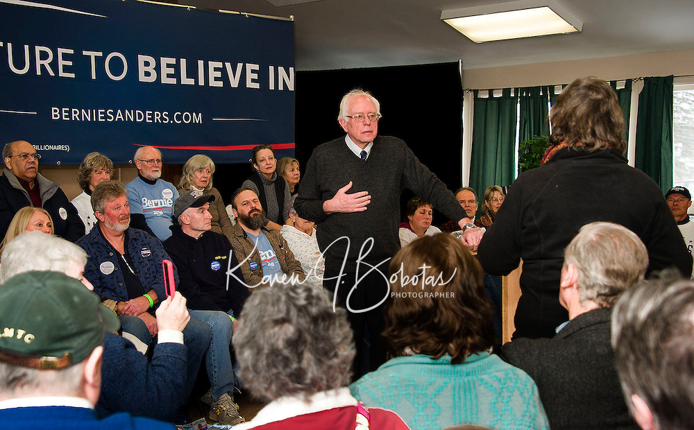 Democratic presidential candidate Bernie Sanders answers questions from the crowd at the Weirs Beach Community Center on Monday morning.  (Karen Bobotas/for the Laconia Daily Sun)