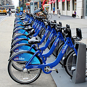 NEW YORK -  SEPTEMBER 02: Citi Bike docking station on September 02, 2013 in New York. Citi Bike is a privately owned for-profit public bicycle sharing system, intended to provide people with an additional transportation option for getting around New York City.