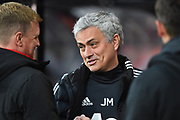 Manchester United manager Jose Mourinho talking to AFC Bournemouth manager Eddie Howe during the Premier League match between Bournemouth and Manchester United at the Vitality Stadium, Bournemouth, England on 18 April 2018. Picture by Graham Hunt.