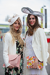 LIVERPOOL, ENGLAND - Friday, April 4, 2014: Liverpool One best dressed judges Lydia Abraham and Naomi Rowland during Ladies' Day on Day Two of the Aintree Grand National Festival at Aintree Racecourse. (Pic by David Rawcliffe/Propaganda)