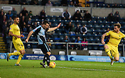 Wycombe  midfielder Matthew Bloomfield shoots at goal during the Sky Bet League 2 match between Wycombe Wanderers and Oxford United at Adams Park, High Wycombe, England on 19 December 2015. Photo by David Charbit.