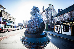 The statue of Greyfriars Bobby, which sits at the corner of Edinburgh's Candlemaker Row and George IV Bridge,