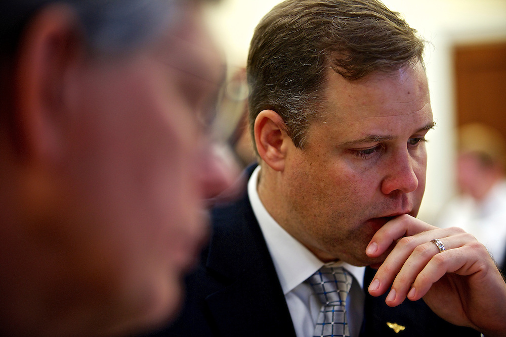 Congressman-elect Jim Bridenstine, from Oklahoma's First District, right, makes decisions about his future office, with his chief of staff Joe Kaufman, left, in the Rayburn House Office Building in Washington, DC on Nov. 30, 2012.