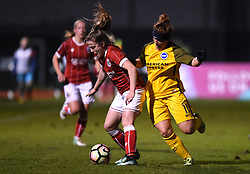 Lauren Hemp of Bristol City Women fends off Fliss Gibbons of Brighton and Hove Albion Ladies - Mandatory by-line: Paul Knight/JMP - 02/12/2017 - FOOTBALL - Stoke Gifford Stadium - Bristol, England - Bristol City Women v Brighton and Hove Albion Ladies - Continental Cup Group 2 South