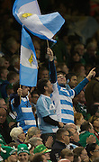 Cardiff, Great Britain, Argentinian fans celebrate in the stands, during the  Quarter Final   Ireland vs Argentina.  2015 Rugby World Cup,  Venue, Millennium Stadium, Cardiff. Wales   Sunday  18/10/2015.   [Mandatory Credit; Peter Spurrier/Intersport-images]