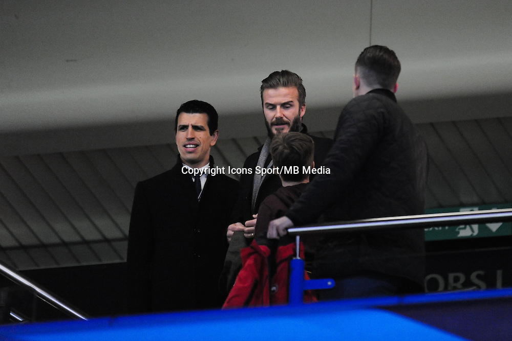 David BECKHAM et son fils - 11.03.2015 - Chelsea / Paris Saint Germain - 1/8Finale Champions League<br />