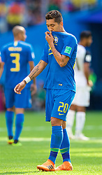 SAINT PETERSBURG, RUSSIA - Friday, June 22, 2018: Brazil's Roberto Firmino looks dejected during the FIFA World Cup Russia 2018 Group E match between Brazil and Costa Rica at the Saint Petersburg Stadium. (Pic by David Rawcliffe/Propaganda)