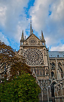 Side of Notre dam showing the huge rose window