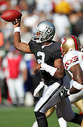 OAKLAND, CA - AUGUST 20:  Quarterback Aaron Brooks #2 of the Oakland Raiders throws a pass against the San Francisco 49ers at McAfee Coliseum on August 20, 2006 in Oakland, California. The Raiders defeated the Niners 23-7. ©Paul Anthony Spinelli *** Local Caption *** Aaron Brooks