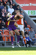 Harry Pell and Brad Potts during the EFL Sky Bet League 2 match between Blackpool and Cheltenham Town at Bloomfield Road, Blackpool, England on 22 April 2017. Photo by Antony Thompson.
