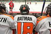 James Batman watches his teammates skate hard during the 2015 State Hockey Championships at the Curtis D. Menard Memorial Sports Center Saturday night. WHS won 4-3.