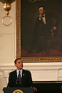 President Barack Obama addresses the National Governors Association in the State Dining Room of the White House on February 23, 2009. photograph by Dennis Brack