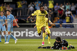 September 14, 2017 - Villarreal, Spain - 17 Cedric Bakambu of Villarreal CF celebrate after scoring the 2-1 goal    during the UEFA Europa League Group A football match between Villarreal CF vs FC Astana  at La Ceramica stadium in Villarreal  on September 14, 2017. (Credit Image: © Jose Miguel Fernandez/NurPhoto via ZUMA Press)