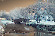 Infrared (IR) image - I liked this stone bridge over the small creek.  This image was made about six or seven miles from where I lived in Lexington, KY.  I enjoyed that I could go from urban/suburban to completely rural landscape over the course of just a few miles.   I also liked that the name of the road is Frogtown Road.