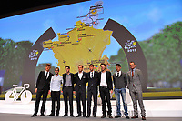 Marcel KITTEL (Ger), Biel KADRI (Fra), Jean Christophe PERAUD (Fra), Tony GALLOPIN (Fra), Alexander KRISTOFF (Nor), Vincenzo NIBALI (Ita), Thibaut PINOT (Fra), during the Presentation of Tour de France 2015, in Paris, France, on October 22, 2014. Photo Tim de Waele / DPPI