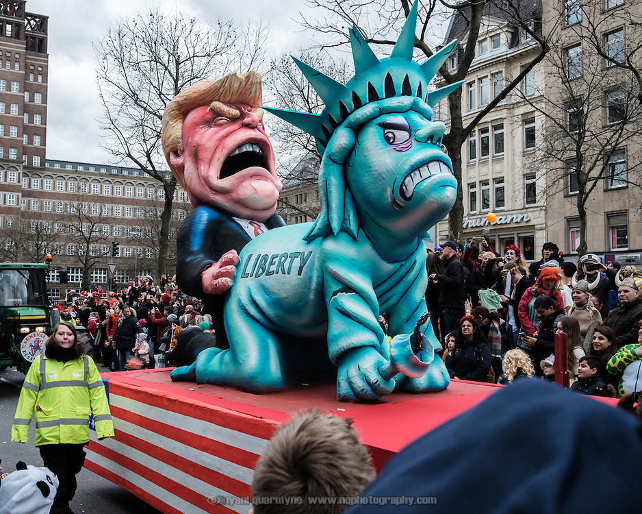 A float featuring US President Donald Trump and the Statue of Liberty during the traditional Karneval parade in Düsseldorf, Germany on 27 February 2017.