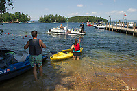 Boats of all shapes and sizes utilize the Glendale docks as a launching spot for access to Lake Winnipesaukee Thursday afternoon.  (Karen Bobotas/for the Laconia Daily Sun)