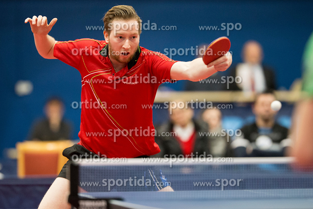 Robin Devos from Belgium during Qualification match between National teams of Slovenia and Belgium for ITTF European Championship 2019, on February 27, 2018 in Otocec, Slovenia. Photo by Urban Urbanc / Sportida