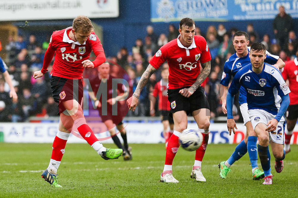 Bristol City's George Saville fires a shot towards goal  - Photo mandatory by-line: Matt McNulty/JMP - Mobile: 07966 386802 - 03/04/2015 - SPORT - Football - Oldham - Boundary Park - Oldham Athletic v Bristol City - Sky Bet League One