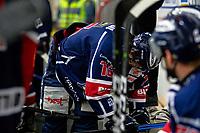 2020-01-22   Kallinge, Sweden: Krif hockey (16) Victor Laz  is hurt during the game between Krif hockey and Halmstad Hammers at Soft Center Arena (Photo by: Jonathan Persson   Swe Press Photo)<br /> <br /> Keywords: kallinge, Ishockey, Icehockey, hockeyettan, allettan södra, soft center arena, krif hockey, halmstad hammers (Match code: krhh200122)