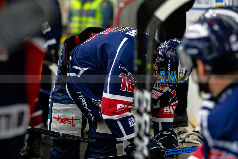 2020-01-22 | Kallinge, Sweden: Krif hockey (16) Victor Laz  is hurt during the game between Krif hockey and Halmstad Hammers at Soft Center Arena (Photo by: Jonathan Persson | Swe Press Photo)<br /> <br /> Keywords: kallinge, Ishockey, Icehockey, hockeyettan, allettan södra, soft center arena, krif hockey, halmstad hammers (Match code: krhh200122)