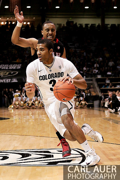 February 21st, 2013 Boulder, CO - Colorado Buffaloes freshman guard Xavier Talton (3) breaks towards the basket during the NCAA basketball game between the University of Utah Utes and the University of Colorado Buffaloes at the Coors Events Center in Boulder CO