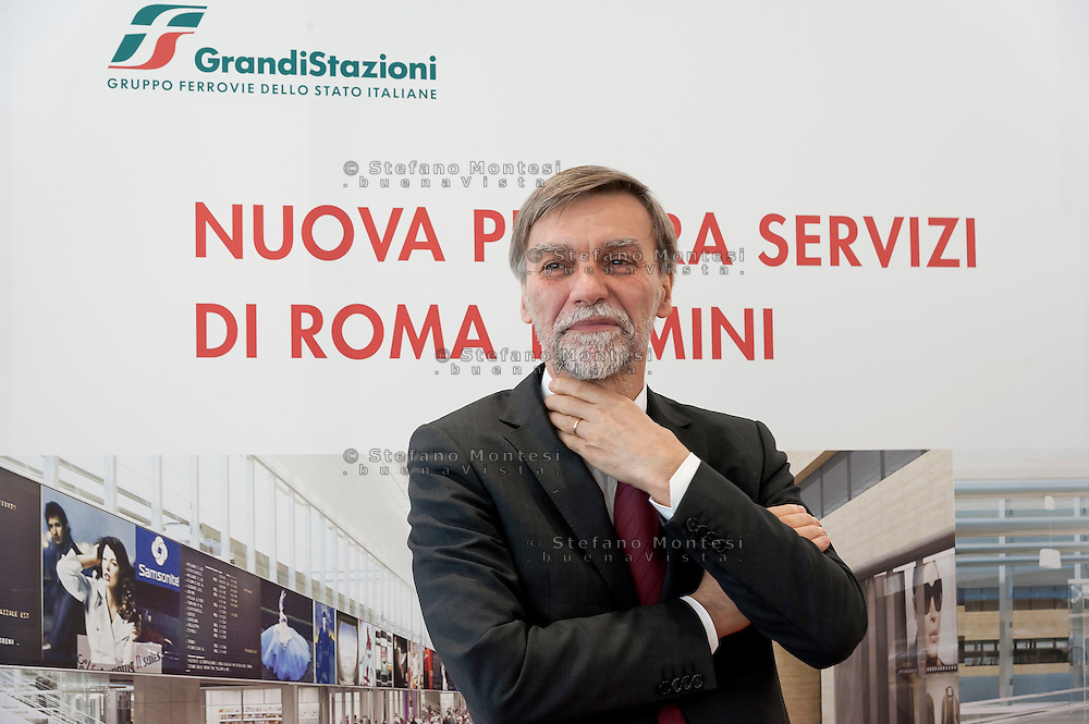 Graziano Delrio, Minister of Infrastructure, during the presentation of the new services plate.<br /> Presented the new services plate to Rome's Termini railway station, new surfaces for 6,500 square meters. Of which 4,550 dedicated to food & beverage and logistics. Approximately 870 tons of steel and 1,000 cubic meters of concrete. For a total investment of 125 million euro. Rome, Italy. 23th February  2016