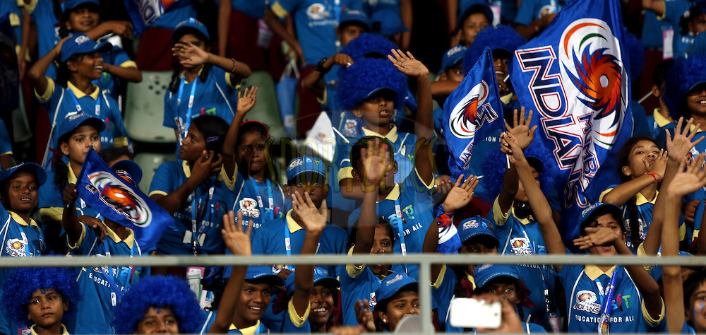NGO Kids of Eduction For All enjoys when players of mumbai indians takes a lap of the ground after the match 22 of the Pepsi Indian Premier League Season 2014 between the Mumbai Indians and the Kings XI Punjab held at the Wankhede Cricket Stadium, Mumbai, India on the 3rd May  2014<br /> <br /> Photo by Sandeep Shetty / IPL / SPORTZPICS<br /> <br /> <br /> <br /> Image use subject to terms and conditions which can be found here:  http://sportzpics.photoshelter.com/gallery/Pepsi-IPL-Image-terms-and-conditions/G00004VW1IVJ.gB0/C0000TScjhBM6ikg