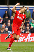 Charlton Athletic midfielder Jordan Cousins (8) celebrates his goal during the Sky Bet Championship match between Queens Park Rangers and Charlton Athletic at the Loftus Road Stadium, London, England on 9 April 2016. Photo by Andy Walter.