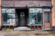 A closed storefront in West Aliquippa, Pa.<br /> <br /> Aliquippa, the former location of a one of the largest steel mills in the world, the Jones and Laughlin Aliquippa Works occupied a seven mile stretch along the Ohio River. <br /> <br /> The city now has fewer residents than the steel mill had employees (14,000) in its heyday. By 1989, most of the production facilities were closed before shuttering for good in the early nineties.
