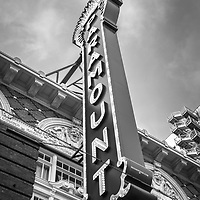 Austin Texas Paramount Theatre sign marquee black and white photo. The Paramount Theater is a historic landmark in downtown Austin in the Southwestern United States.