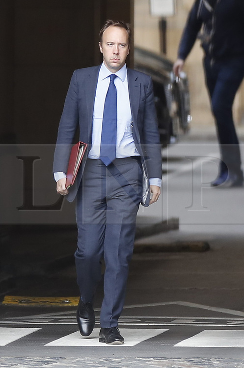 © Licensed to London News Pictures. 02/09/2019. London, UK. Health Secretary Matt Hancock walks from Parliament. Parliament returns tomorrow with MPs expected to attempt to legislate against the goverment's Brexit plans. Photo credit: Peter Macdiarmid/LNP