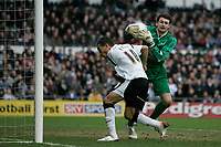 Photo: Pete Lorence.<br />Derby County v Bristol Rovers. The FA Cup. 27/01/2007.<br />Craig Fagan attempts to flick the ball out of Steve Phillips' hands.