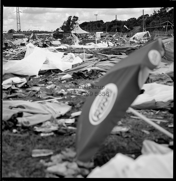 Roskilde, Denmark. July 2007.  Debris from the week-long Roskilde music festival in Denmark.