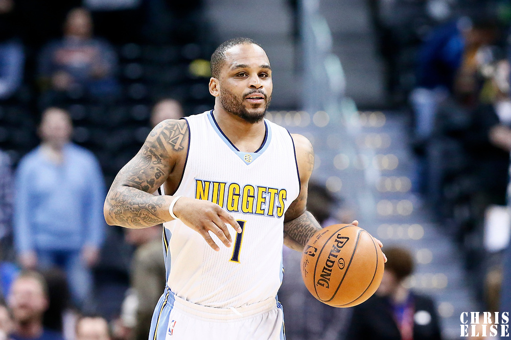 06 March 2017: Denver Nuggets guard Jameer Nelson (1) brings the ball up court during the Denver Nuggets 108-96 victory over the Sacramento Kings, at the Pepsi Center, Denver, Colorado, USA.