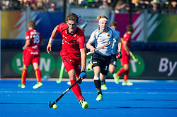 Belgium's Felix Denayer. Belgium v Germany - Unibet EuroHockey Championships, Lee Valley Hockey & Tennis Centre, London, UK on 22 August 2015. Photo: Simon Parker