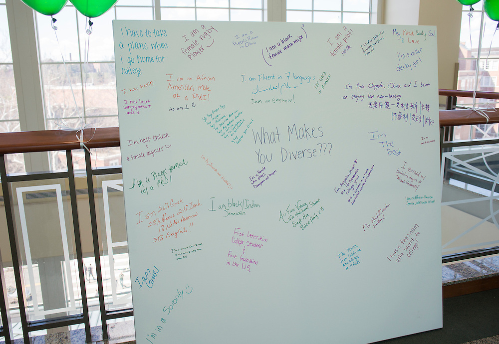 Visitors of the Office of Diversity and Inclusion's St. Patrick's Day celebration had the opportunity to write down and share something that made them diverse.