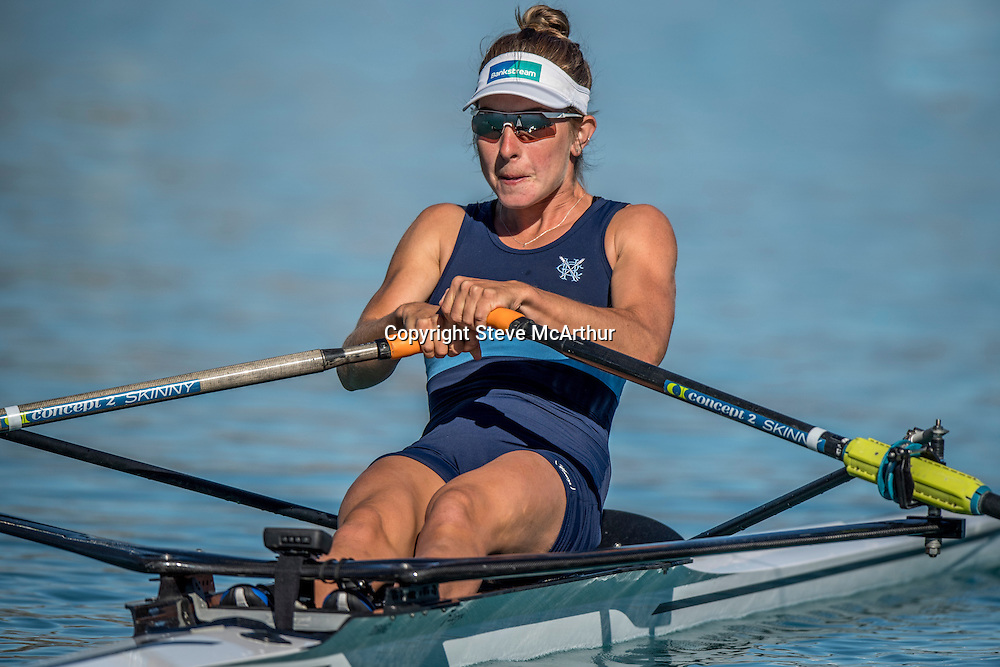Zoe McBride , Central RPC , premier single heat NZ Rowing Championships , 15 February 2017 , Lake Ruataniwha. © Copyright photo: Steve McArthur / www.photosport.nz