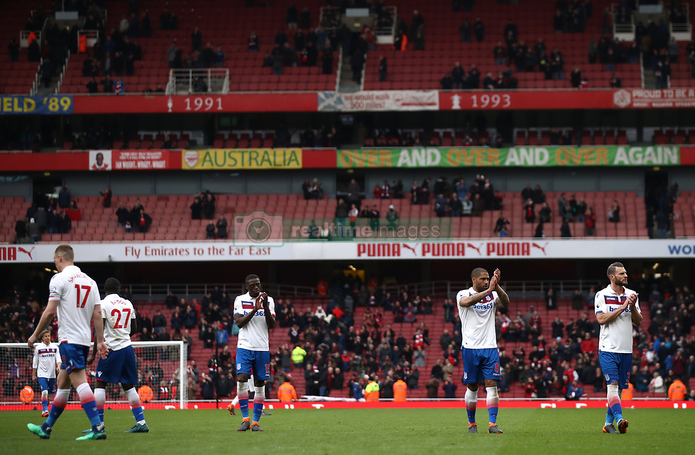 Stoke City players applaud the fans after the Premier League match at The Emirates Stadium, London.