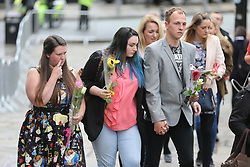 © Licensed to London News Pictures. 26/07/2017. Manchester UK. The funeral of the Manchester bombing's youngest victim 8 year old Saffie Rose Roussos is taking place today at Manchester Cathedral. Saffie died when suicide bomber Salman Abedi detonated a bomb in the Manchester Arena at a Ariana Grande concert on the 22nd May 2017. Photo credit: Andrew McCaren/LNP