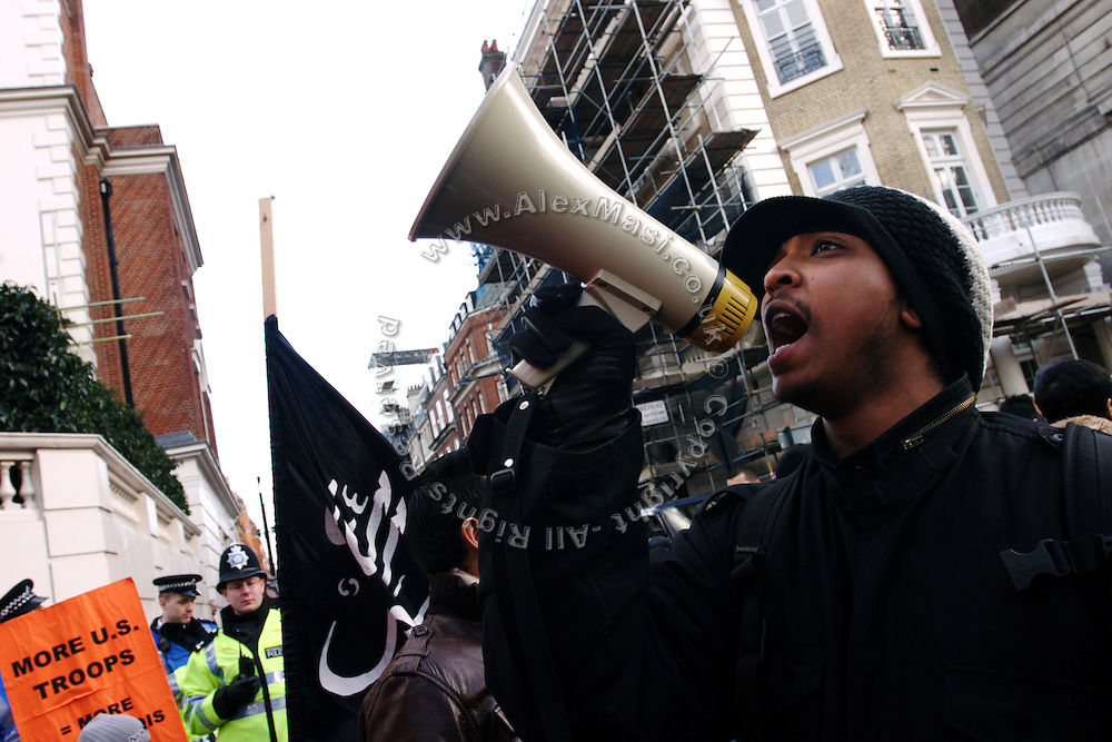 Iron Braydz, 26, (right) is taking part to a demonstration against the US-led invasion of Iraq, on Saturday, Jan. 20, 2007, in central London, England. Islamic Hip Hop artists like the duo 'Blind Alphabetz', from London, feel more than ever the need to say what they think aloud. In the music industry the backlash of a disputable Western foreign policy towards Islamic countries and its people is strong. The number of artists in the European Union and the US taking this into consideration and addressing the current social and political problems within their lyrics is growing rapidly and fostering awareness for Muslim and others alike.