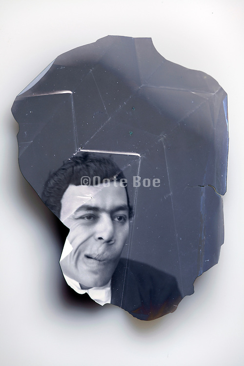 broken emulsion of mime comedian portrait