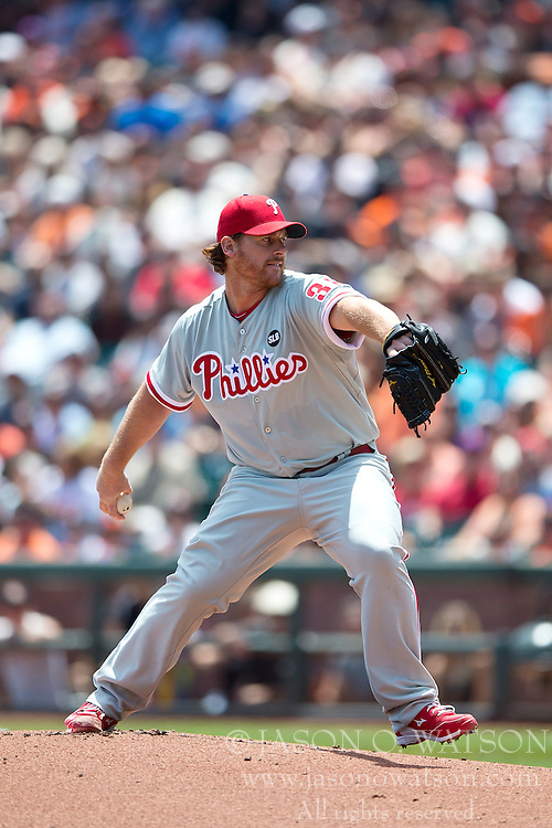 SAN FRANCISCO, CA - JULY 12:  Chad Billingsley #38 of the Philadelphia Phillies pitches against the San Francisco Giants during the first inning at AT&T Park on July 12, 2015 in San Francisco, California.  The San Francisco Giants defeated the Philadelphia Phillies 4-2. (Photo by Jason O. Watson/Getty Images) *** Local Caption *** Chad Billingsley