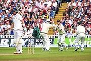 Australia claim the wicket of Joe Root during the 3rd Investec Ashes Test match between England and Australia at Edgbaston, Birmingham, United Kingdom on 30 July 2015. Photo by Shane Healey.