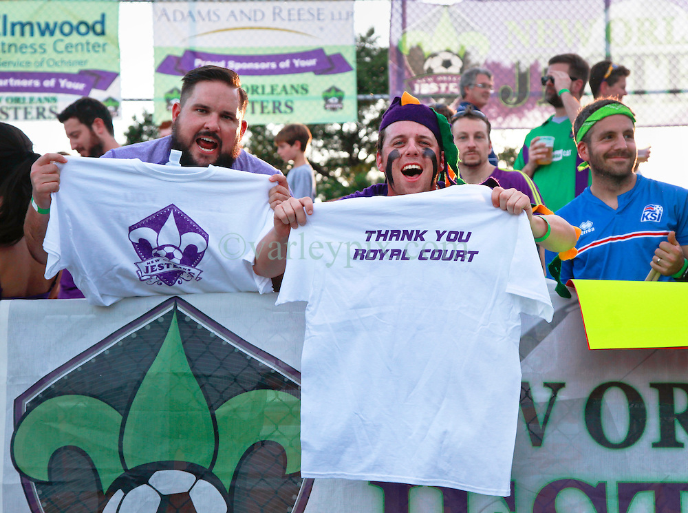27 June 2015. New Orleans, Louisiana.<br /> National Premier Soccer League. NPSL. <br /> Jesters 1- Georgia Revolution 5.<br /> Jesters supporters The Royal Court as the New Orleans Jesters prepare to play the Georgia Revolution in the Pan American Stadium. <br /> Photo&copy;; Charlie Varley/varleypix.com